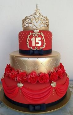 Red and gold cake. 15th Birthday Cakes, Sweet 16 Birthday Cake, Beautiful Birthday Cakes, Beautiful Cakes, Amazing Cakes, 16 Cake, Cupcake Cakes, Pretty Cakes, Cute Cakes
