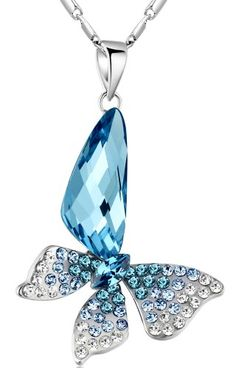 Stylized Butterfly Wing Drop Austrian Crystal Pendant Necklace (Blue and Green) 2004401