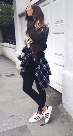 #winter #fashion / leather + plaid