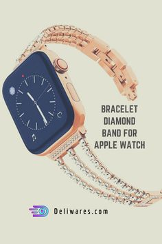 Compatible Model: For Apple Watch 38/40/42/44mm 3 colors for choice: Silver/ Black/ Rose Gold Made of high quality 316L stainless steel No tool is needed, easy to adjust band length Diamond Bracelets, Metal Bracelets, Diamond Bands, Diamond Jewelry, Best Apple Watch, Apple Watch Faces, Apple Watch Series 1, 1 Rose, Rose Gold