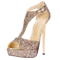 T strap high heels sequined peep toe platform high heels stiletto heels prom shoes wedding shoes summer and fall outfits Cute Wedges Shoes, Open Toe, Frauen In High Heels, Prom Heels, Stiletto Shoes, Glitter Shoes, Platform High Heels, Fashion Heels, Dress Fashion