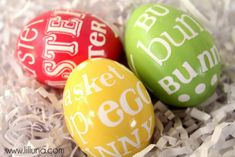 Word Art Easter eggs; I love these! Would be lovely with childrens names on or names of gift recipients.