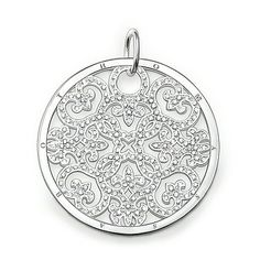 """THOMAS SABO Sterling Silver Glam & Soul Pendant """"ornament"""". Article number: PE433-051-14. Ornament -Pendant with eyelet -925 Sterling silver -white zirconia The arabesque disc is an absolute trend piece with its modern cut-outs in Sterling silver. Perfect when accented with onyx or mother-of-pearl discs of the SPECIAL ADDITION collection.  Size: 3.5 cm. USD 384"""