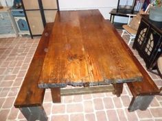 Barn wood harvest table and benches Barn Wood, Carpentry, Harvest Tables, Dining Table, Diy Crafts, Rustic, Benches, Craft Ideas, Furniture