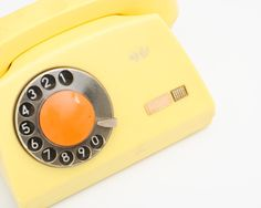 Vintage Yellow Rotary Phone - Made in Poland - Shabby Chic Home Decor - Photo Props. $50.00, via Etsy.