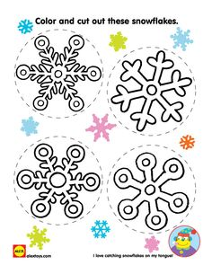 Color and cut out these pretty snowflake designs and create a blizzard indoors! Free #printable | alextoys.com