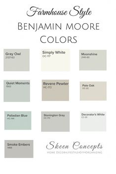 Farmhouse Style inspired paint colors from Benjamin Moore. How to add Farmhouse . Farmhouse Style inspired paint colors from Benjamin Moore. How to add Farmhouse Style to your home. Farmhouse Paint Colors, Kitchen Paint Colors, Bedroom Paint Colors, Paint Colors For Living Room, Room Colors, Wall Colors, Paint Colours, Farmhouse Color Pallet, Paint Decor