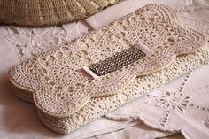 From Rectangle Crochet Doily - Diy Crafts Crochet Clutch Bags, Bag Crochet, Crochet Handbags, Crochet Purses, Thread Crochet, Filet Crochet, Crochet Motif, Crochet Designs, Crochet Doilies