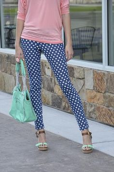 Red polka dot jean nude top and nude shoes with metallic detail navy and white polka dot skinny jeans sisterspd