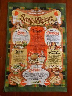 NWOT Traditional Scottish Recipes Decorative Tea Towel Vista Made in Britain