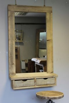 Salon Barber shop Styling Station with Drawer - - Driftwood Interiors are the UK's top driftwood interior specialists offering a stunning range of bespoke mirrors, furniture and more.