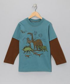 Take a look at this Teal Dino Group Layered Tee - Boys by Mulberribush on #zulily today!
