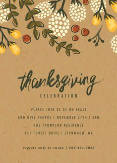 Thanksgiving Dinner Invitation - Festive Autumn Foliage Holiday Party Invitations by Karidy Walker at minted.com