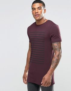 ASOS Longline Muscle T-Shirt With Stripe In Oxblood