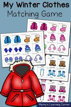 Clothes: Match Game Winter Clothes Matching Game - lots of suggestion for use for grade!Winter Clothes Matching Game - lots of suggestion for use for grade! Preschool Themes, Preschool Lessons, Preschool Classroom, Classroom Activities, Preschool Winter, Toddler Preschool, Preschool Workbooks, Winter Diy, Winter Gear