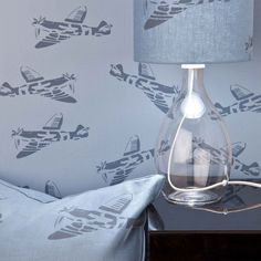DESIGNER KIDS WALLPAPER- 'Spitfire' in Blue. Kids love planes and they will love our 'Spitfire' wallpaper in Blue.An iconic English plane that boys, young and o Cool Wallpapers For Walls, Boys Wallpaper, White Wallpaper, Blue Wallpapers, Nursery Wallpaper, How To Make Curtains, Something Beautiful, Blue Fabric, Designer Wallpaper