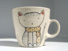 Coffee Cup - Cat in Scarf Mug - Cute Handmade Ceramics