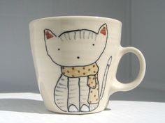 Coffee Cup - Cat in Scarf Mug - Cute Handmade Ceramics. $30.00, via Etsy.