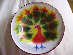 Vintage Decorated Enamel Dish - 1950s, Peacock