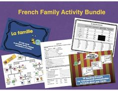 This is a bundle of three of my activities to practice French Family vocabulary as well as two additional handouts and one additional worksheet.This bundle includes the following items from my store:La Famille Escargot Family TreeFrench Family Task CardsFrench Family Interpersonal Communication CardsPlease check out the links to those items for detailed previews.In addition to those three products, you also get the following items:-Handout on possessive adjectives in French-Handout on ...