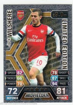 Match Attax 2013-2014 Jack Wilshere Gold Limited Edition