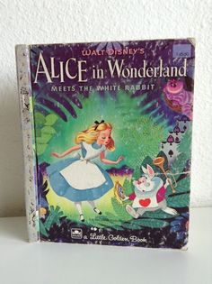 Vintage Walt Disney Little Golden Book, Alice in Wonderland Meets The White Rabbit adapted from Lewis Carroll's book Alice in Wonderland