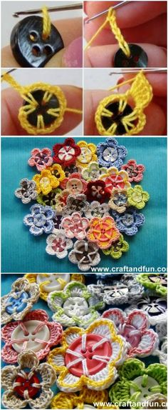 Crochet Button Flowers Video Free Pattern Lots Of Ideas C. - Crochet Button Flowers Video Free Pattern Lots Of Ideas Crochet Button Flowe - Crochet Diy, Crochet Simple, Crochet Crafts, Yarn Crafts, Crochet Projects, Sewing Crafts, Sewing Projects, Crochet Summer, Crochet Ideas