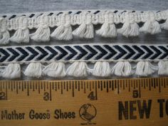 "Navy Blue Chevron ribbon cream tassel fringe trim .75"" wide Hippie Boho Nautical retro BTY yards crafts costume Antique white by kabooco on Etsy"