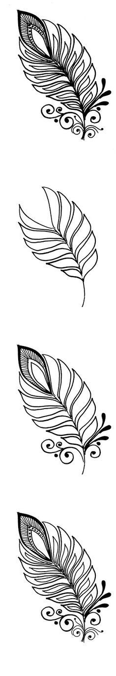 Henna Feather progressive drawing
