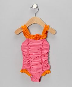 Take a look at this Pink Floral Ruffle One-Piece - Infant & Toddler by Absorba on #zulily today!