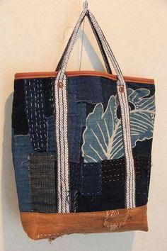 antique japanese sashiko stitched tsutsugaki katazome textile boro tote bag sakabukuro