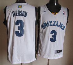19220d209 Adidas NBA Memphis Grizzlies 3 Allen Iverson New Revolution 30 Swingman  Home White Jersey Cheap Football