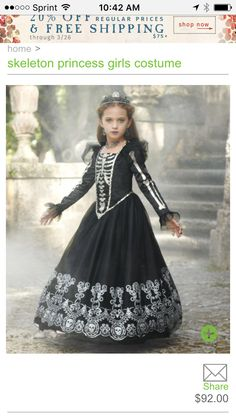 skeleton princess girls costume - Only at Chasing Fireflies - This dark princess reigns over a vast scary-tale kingdom. Scary Girl Costumes, Girls Skeleton Costume, Halloween Costumes For Girls, Skeleton Dress, Halloween Forum, Kid Costumes, Halloween Halloween, Vintage Halloween, Halloween Makeup