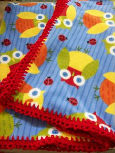 Fleece + crochet blanket donated to Project Linus