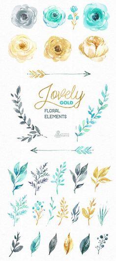 Wedding Quotes : Picture Description Belles fleurs en or. Séparer les éléments floraux. Clipart - #Quotes https://weddinglande.com/quotes/wedding-quotes-belles-fleurs-en-or-separer-les-elements-floraux-clipart/