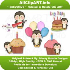 Birthday Penguins 1 - Clip Art by Primsy Doodle Designs