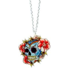 MEXICAN SKULL AND FLOWERS NECKLACE (20 AUD) found on Polyvore featuring jewelry, necklaces, rose flower jewelry, flower charms, blossom jewelry, charm jewelry and skull jewelry