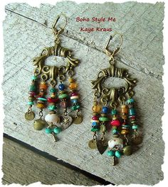 Rustic Boho Tribal Gypsy Earrings Bohemian Jewelry by BohoStyleMe