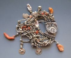 Bracelet..pyrite, antiqur coral and Indian silver, keshi pearls LuciaAntonelli.com
