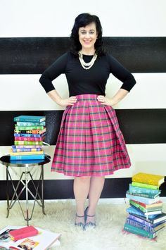 Pink Red and Teal Plaid Taffeta Hartley Skirt  by SandeeRoyalty