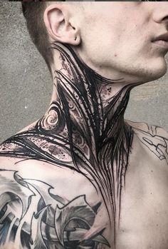 - Black lettering throat tattoo – Incredible black letterin, blackwork, neck / neck tattoo from our - Best Neck Tattoos, Wörter Tattoos, Girl Neck Tattoos, Neck Tattoo For Guys, Great Tattoos, Black Tattoos, Body Art Tattoos, Tattoos For Guys, Sleeve Tattoos