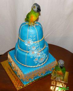 Cake with Senegalese parrot Papagáj senegalský - torta, papagáje z jedlej cukrovej hmoty
