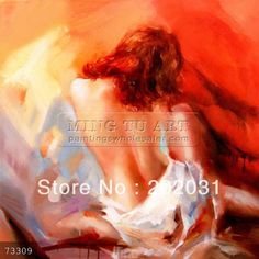100% handmade modern abstract sexy nude woman body back oil painting on canvas, Ecstasy size 50x50cm