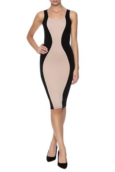 Sleeveless strappy open back dress with black sides and taupe front.  Colorblock Dress by Lac Bleu. Clothing - Dresses - Knee Clothing - Dresses - Night Out Manhattan New York City New York City