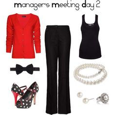 Manager's Meeting Day 2, created by liabryant on Polyvore. Polka dots, bows, red, pearls, and black.