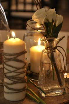 love the twine around the candle..prob needs to sit on a burlap piece to catch drippings