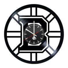 Boston Bruins Jersey Logo Handmade Vinyl Record Wall Clock Fan Gift - VINYL CLOCKS