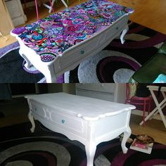 Original (and boring) table versus final funky version. Zen Art, Upcycled Furniture, Vanity Bench, Feng Shui, Unique Art, Zentangle, Bespoke, My Design, Meditation
