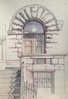 Chiklet is part of pencil-drawings - Rusticated stone entrance Ink and watercolor freehand sketch on location Watercolor Architecture, Architecture Sketches, Architecture Drawing Sketchbooks, Landscape Architecture Drawing, Drawing Sketches, Cool Drawings, Drawing Ideas, Pencil Drawings, Urban Sketching
