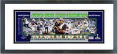 "Seattle Seahawks Super Bowl XLVIII Champions - 18.5"" x 42.5"" Framed Photoramic"